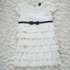 NWT GAP 3T Dress Black White Flower Girl Baptism